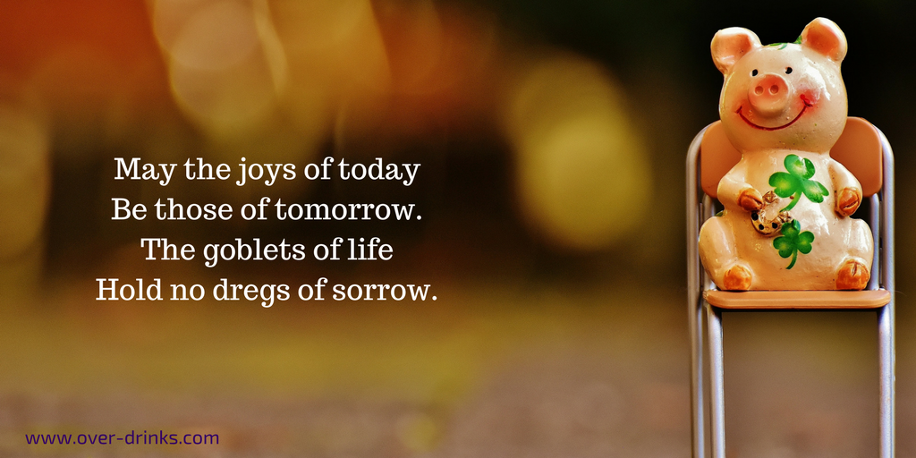 May the joys of today be those of tomorrow. The goblets of life hold no dregs of sorrow.