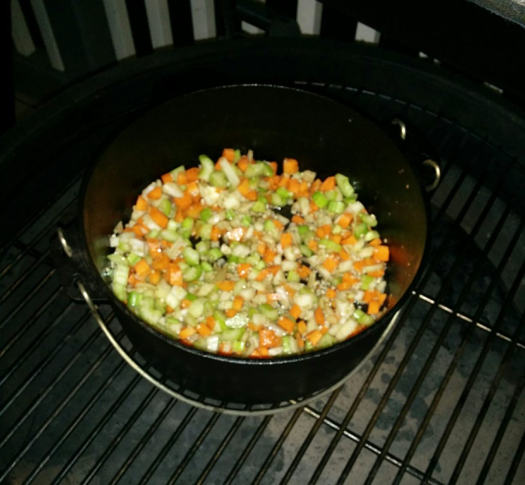 Veggies Sauteing for Chicken and Dumplings at The Big Green Egg Culinary Center for Cast Iron Cooking