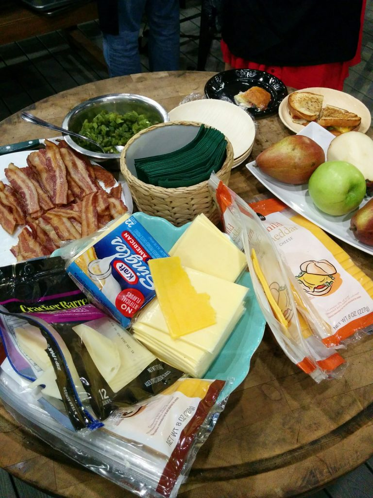 Savory Grilled Cheese Station at The Big Green Egg Culinary Center for Cast Iron Cooking