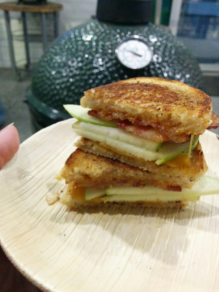 My Apple Bacon Cheddar Melt at The Big Green Egg Culinary Center Cast Iron Cooking Class