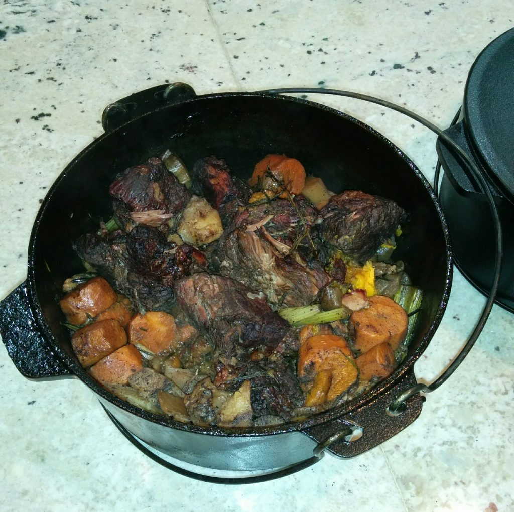 Pot Roast and Veggies at The Big Green Egg Culinary Center for Cast Iron Cooking