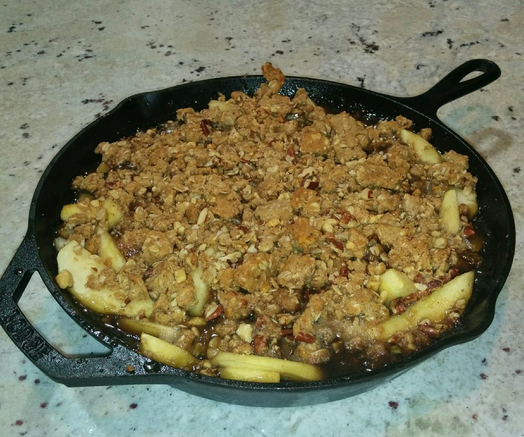 Finished Apple Pear Crisp at The Big Green Egg Culinary Center for t he Cast Iron Cooking Class